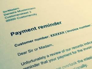 Muster einer Zahlungserinnerung auf Englisch mit der Aufschrift Payment reminder.