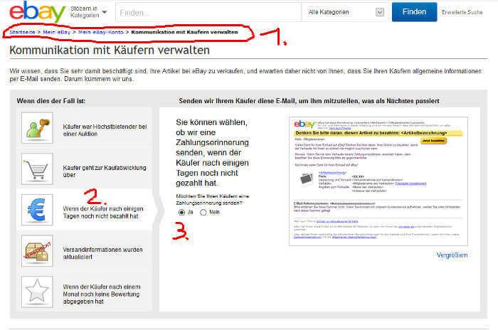 Zahlungserinnerung über ebay per email senden. (Anleitung)